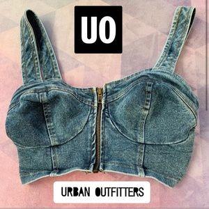 💘 URBAN OUTFITTERS JEAN ZIPPER BUSTIER BRA